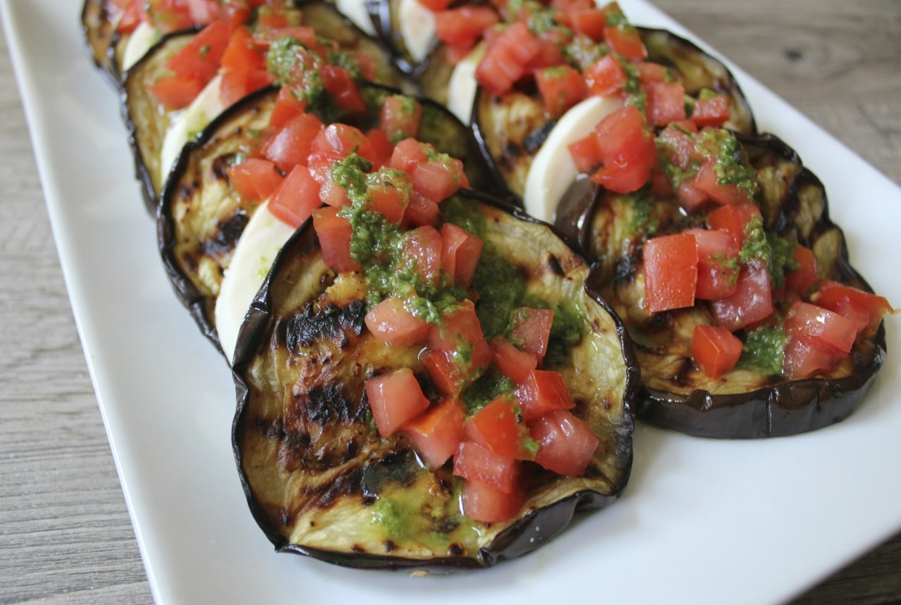 Grilled-eggplant-with-fresh-mozzarella-tomatoes-and-basil-vinaigrette