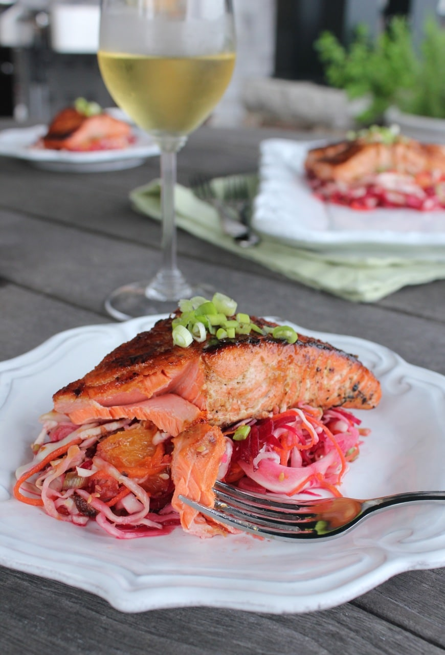 Ginger-Soy Glazed Salmon with Asian Beet Slaw- Domesticate ME!