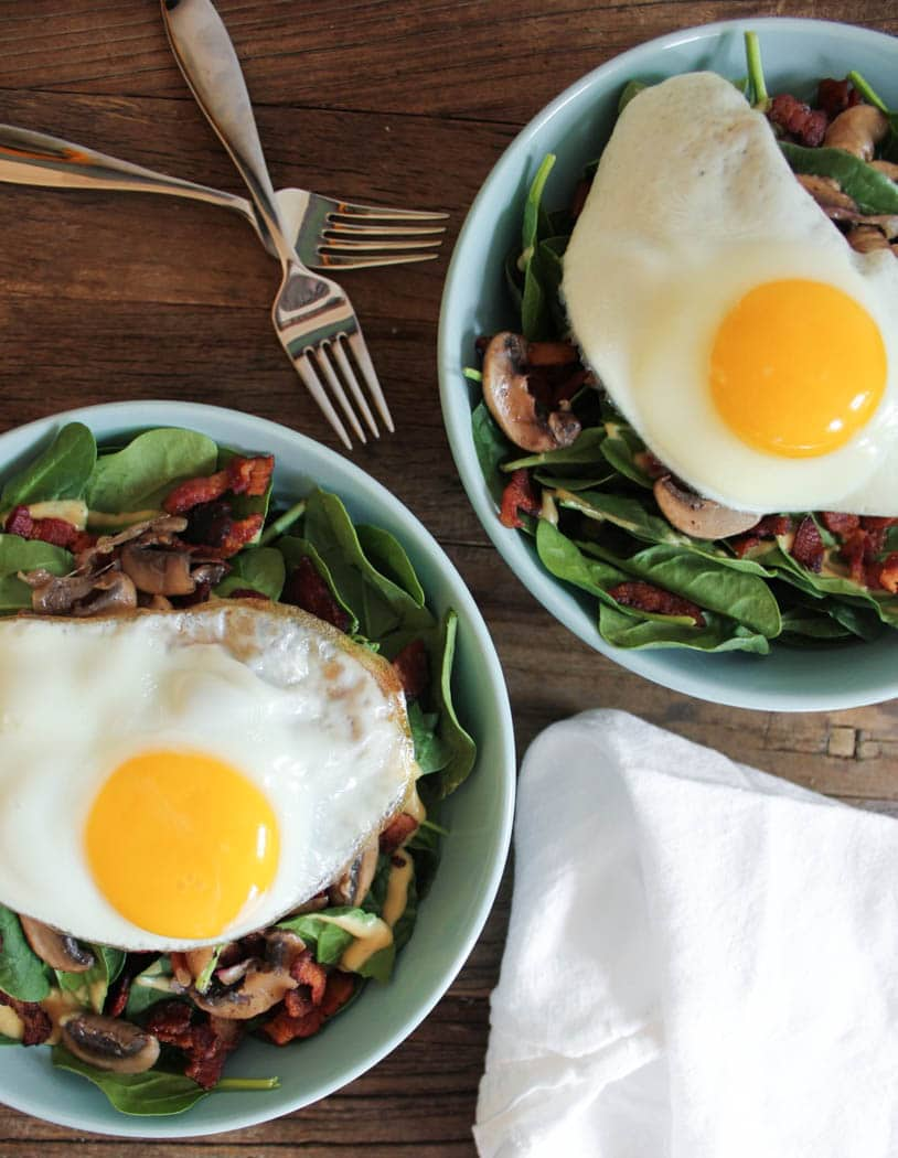 Warm Spinach Salad with Bacon Vinaigrette and a Fried Egg ...