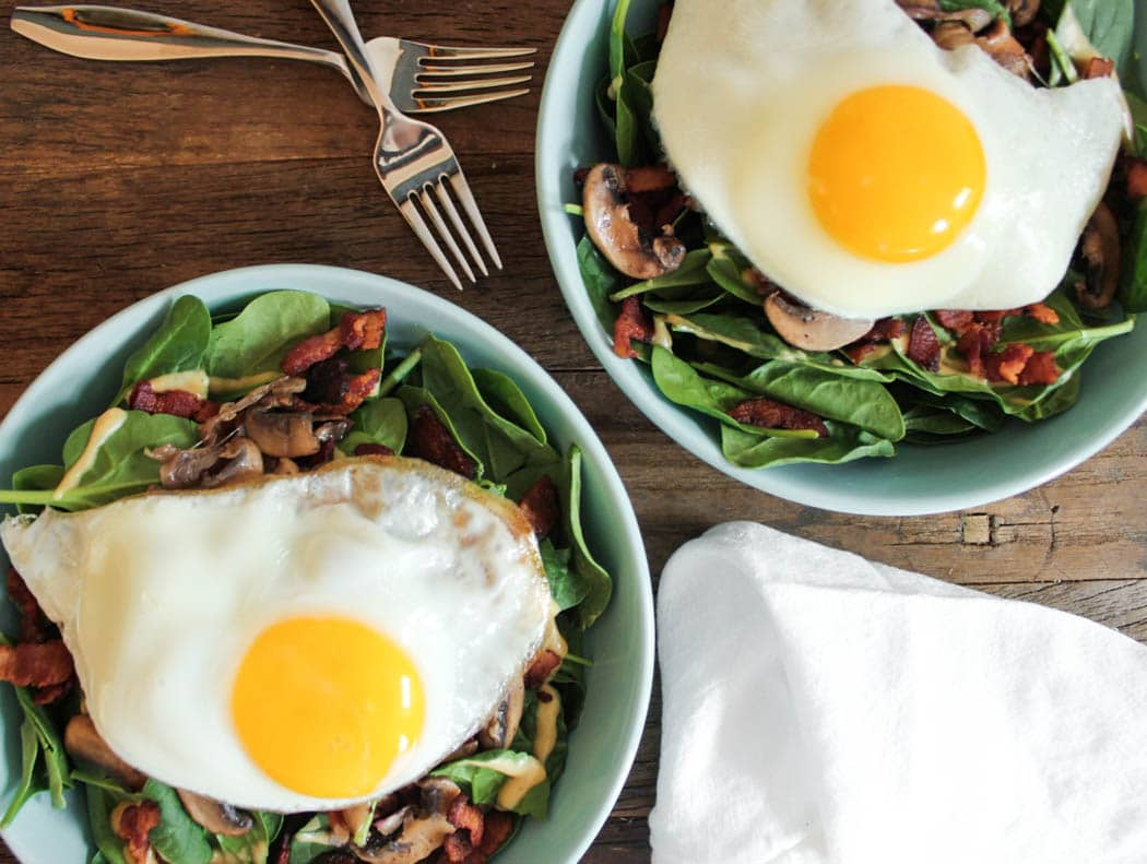 Warm Spinach Salad with Bacon Vinaigrette and a Fried Egg- Domesticate ...