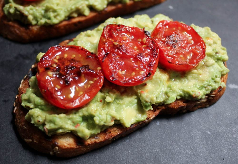 Avocado-Toasts-with-Charred-Tomatoes-Garlic-Shrimp-and-Fried-Eggs-step ...