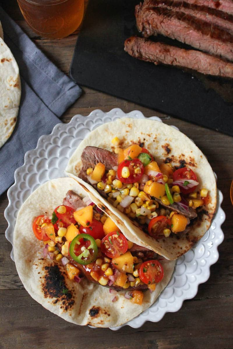 Barbecue-Flank-Steak-Tacos-with-Corn-Peach-Salsa-3