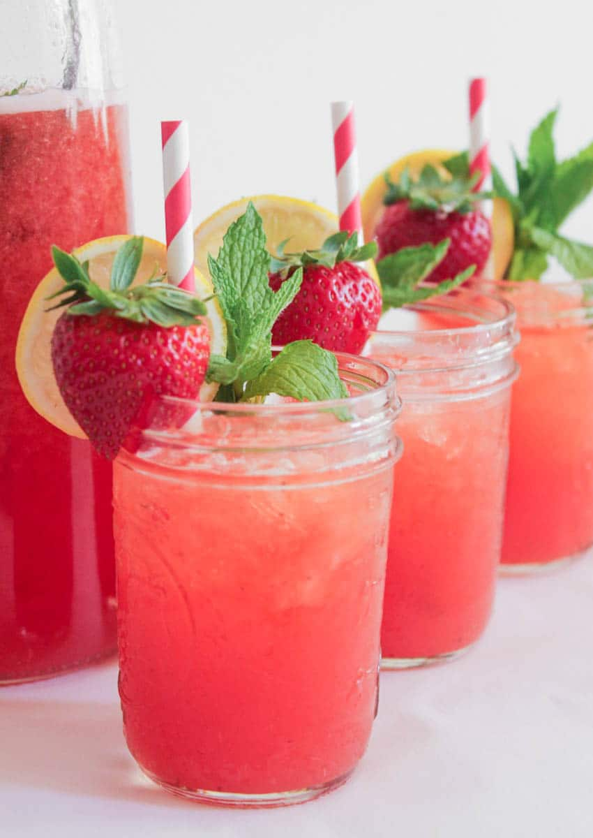 Roasted Strawberry Mint Lemonade