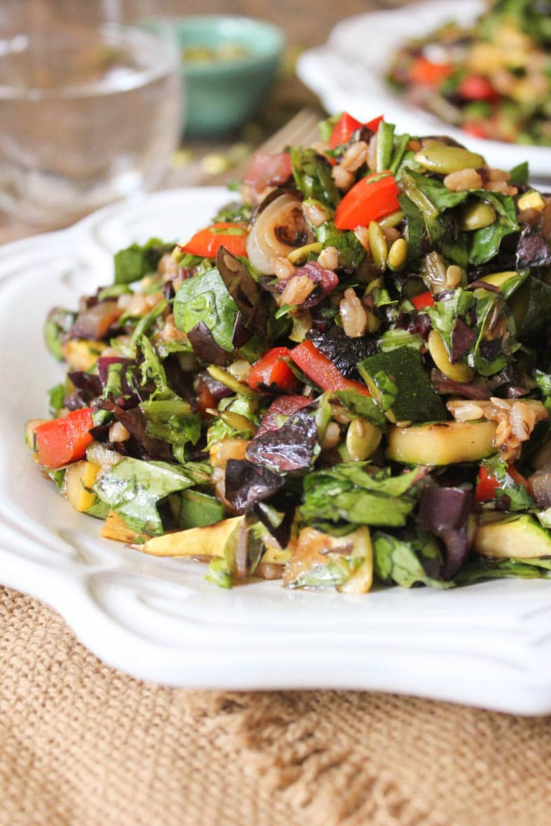 Grilled Vegetable Salad with Farro: (Serves 2 as a main course, 4 as ...